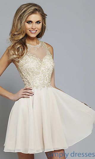 FA-S7668 - Faviana Lace-Embroidered Applique Short Prom Dress ...