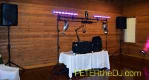 DJ setup at Allyssia and Ryan's wedding ceremony and reception, April 2016.