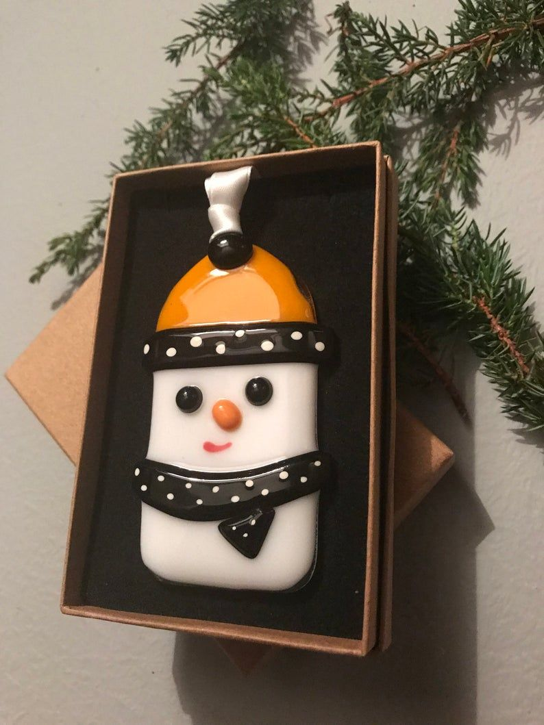 Fused glass snowman, Fused Glass snowmen, Christmas tree