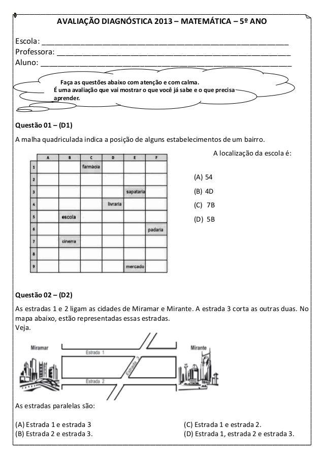 Avaliacao Diagnostica 2013 B Matematica B 5º Anoescola