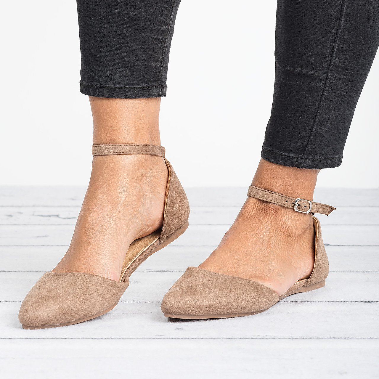 Ankle Strap Ballerina Flat - Taupe