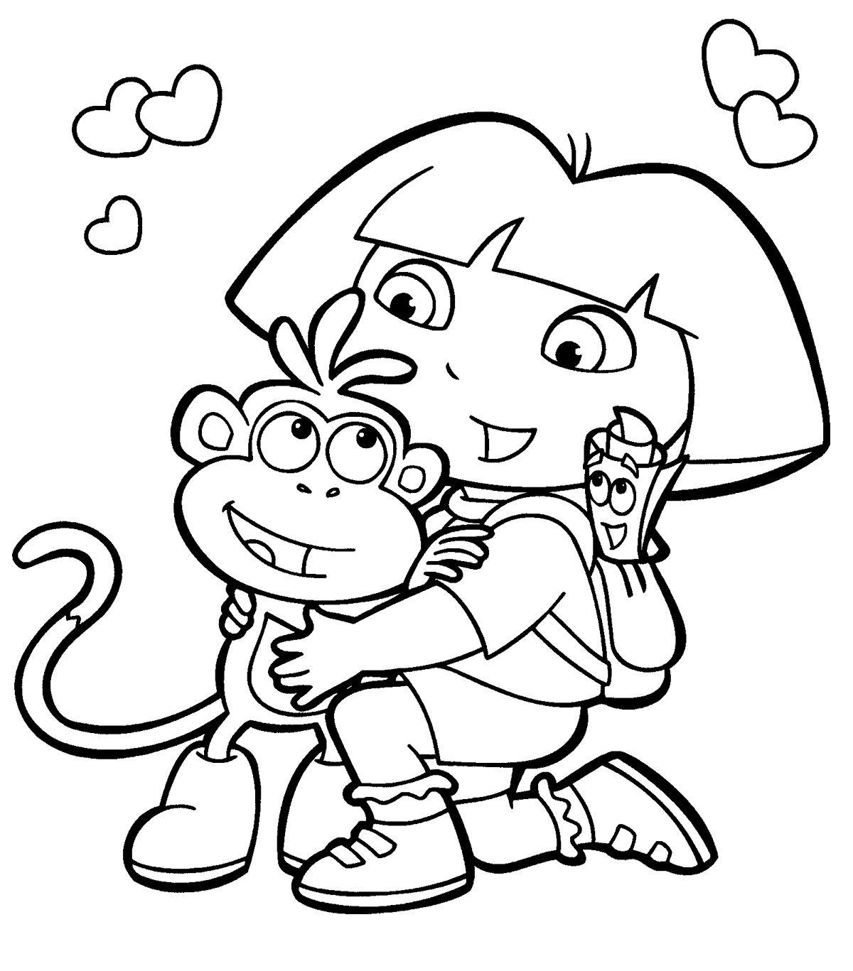 Dora The Explorer Coloring Pages For Kids Dora Coloring