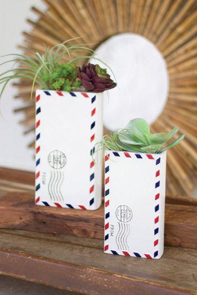 ceramic postal envelope vase