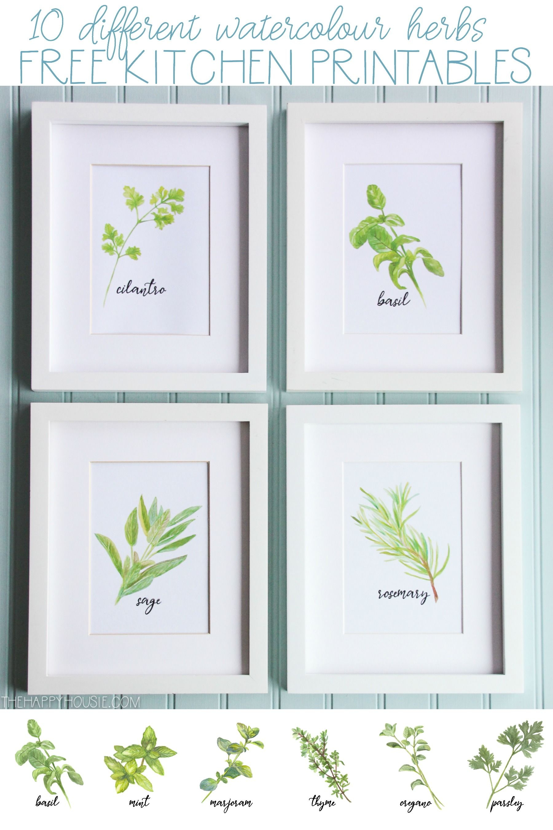 Watercolour Herb Free Kitchen Printables In 10 Designs Kitchen