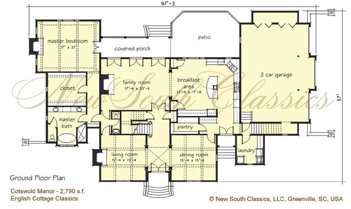 New South Classics Cotswold Manor Cotswolds Cottage House Plans Craftsman House Plans