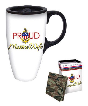 Take a look at this 'Proud Marine Wife' 17-Oz. Travel Mug & Gift Box by Cypress Home on #zulily today!