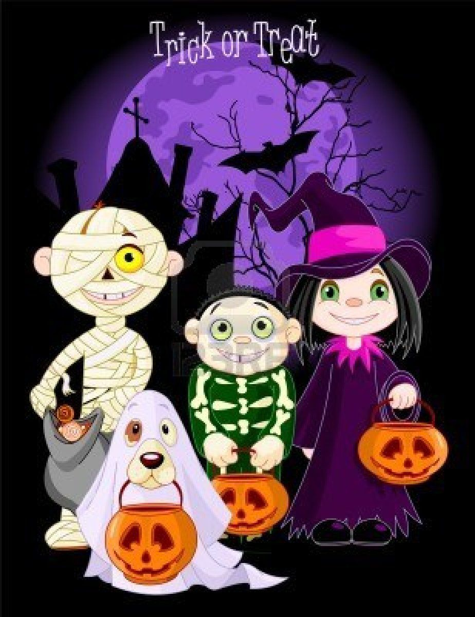 A Group Of Cute Kids And Dog Dressed Up To Trick Or Treat On Halloween Hacks Halloween Artwork Halloween Vector