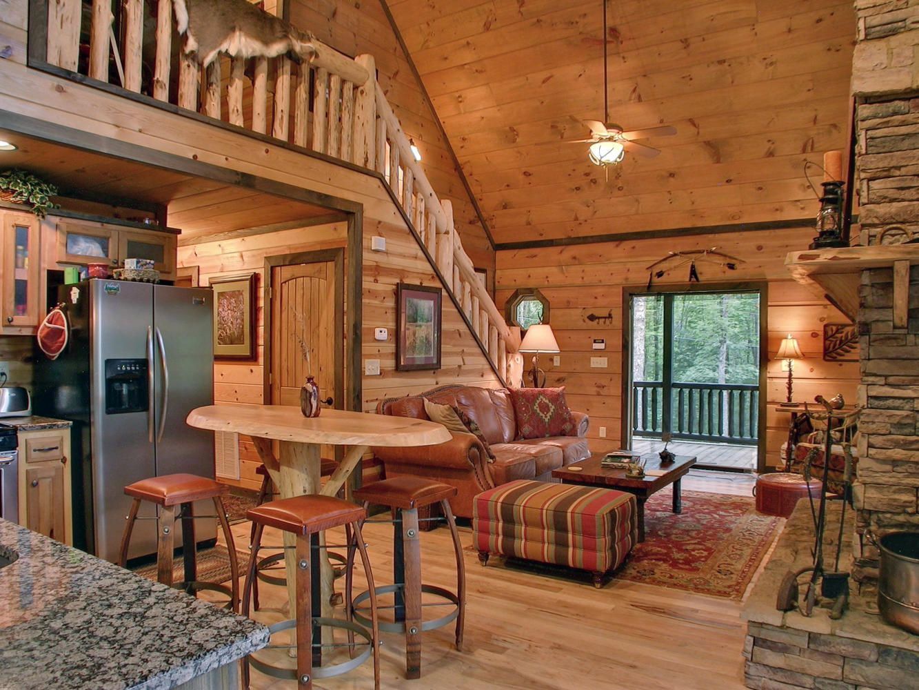 Cabin Style Living Room With A Cozy Country Design Cabin