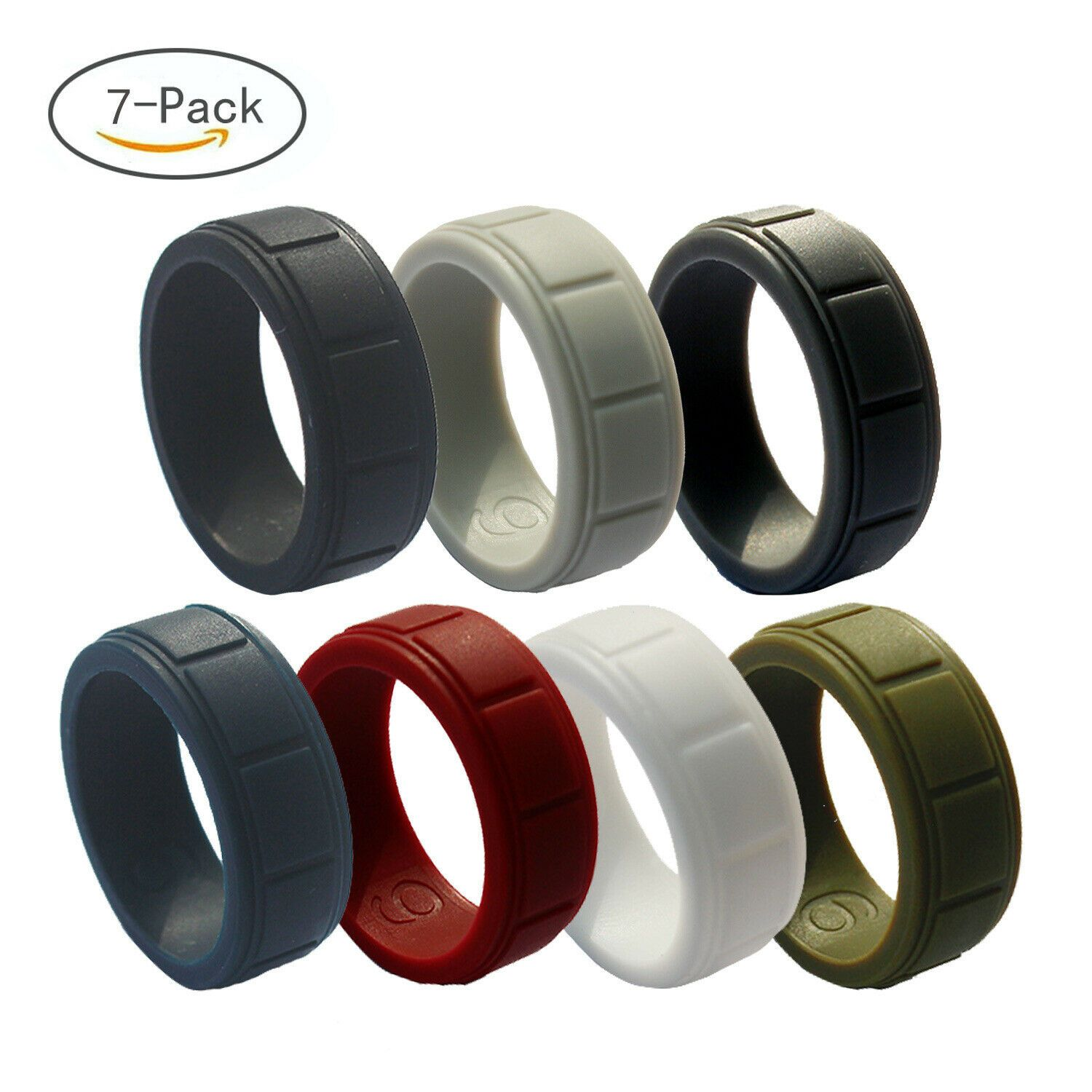 7pcs Silicone Wedding Ring Men Rubber Band Set Gym Comfort Sport Work Flexible In 2020 Silicone Wedding Ring Men Rubber Wedding Band Rings Silicone Rings