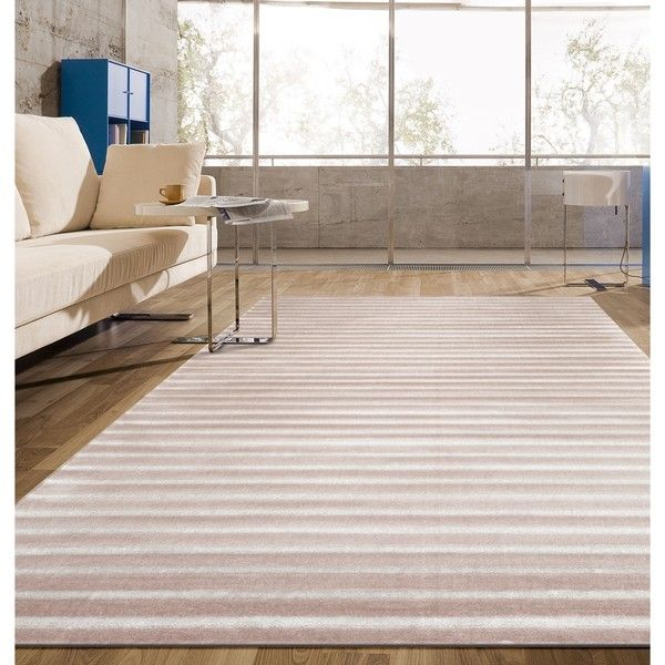 Pink Contemporary Modern Striped Soft Indoor Area Rug (1.160 BRL) ❤ liked on Polyvore featuring home, rugs, pink, woven area rugs, pink striped rug, striped rug, stain resistant rugs и woven rug