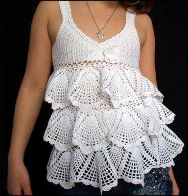Remera o solera tejida a crochet con su patrón http ...