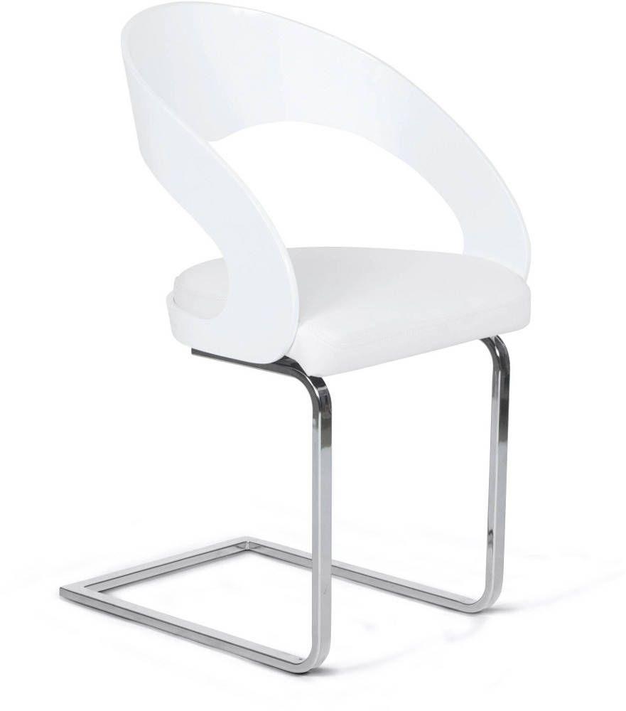 Chaise Confort En Simili Cuir Blanc 49x41x82cm Sur Jardindeco Com Chaise Design Chaise De Bureau Design Chaise Deco