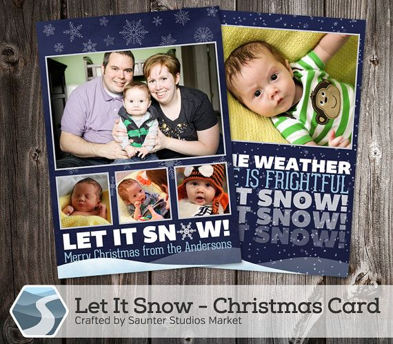 Holiday Card Template Let It Snow 5x7 Photoshop Template Etsy Holiday Card Template Custom Christmas Cards Christmas Card Template