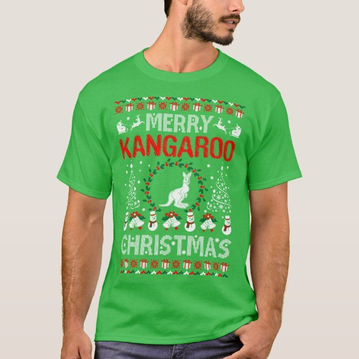 Merry Kangaroo Pets Christmas Ugly Sweater Tshirt, Men's, Size: Adult L, Shamrock Green