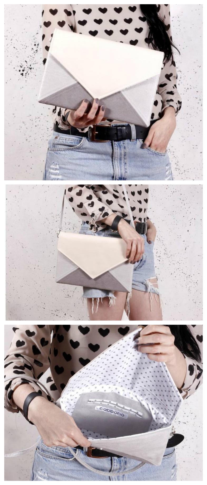 Amplia bolsa de sobre en gris, blanco y rosa pastel, se puede usar como hombro …