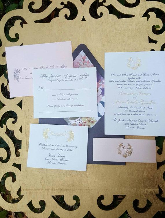 English Garden Wedding Invitation with charcoal letterpress and gold foil DEPOSIT  This suite was such an absolute dream to create. The client
