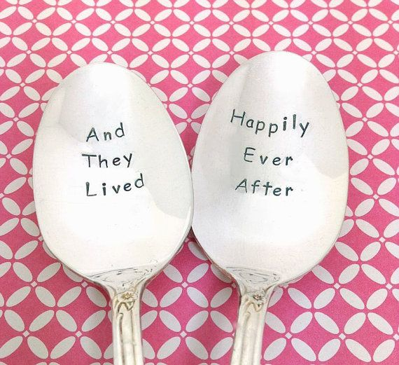 Silverware Wedding Gifts: Wedding Spoons, Happily Ever After, Hand Stamped Spoons