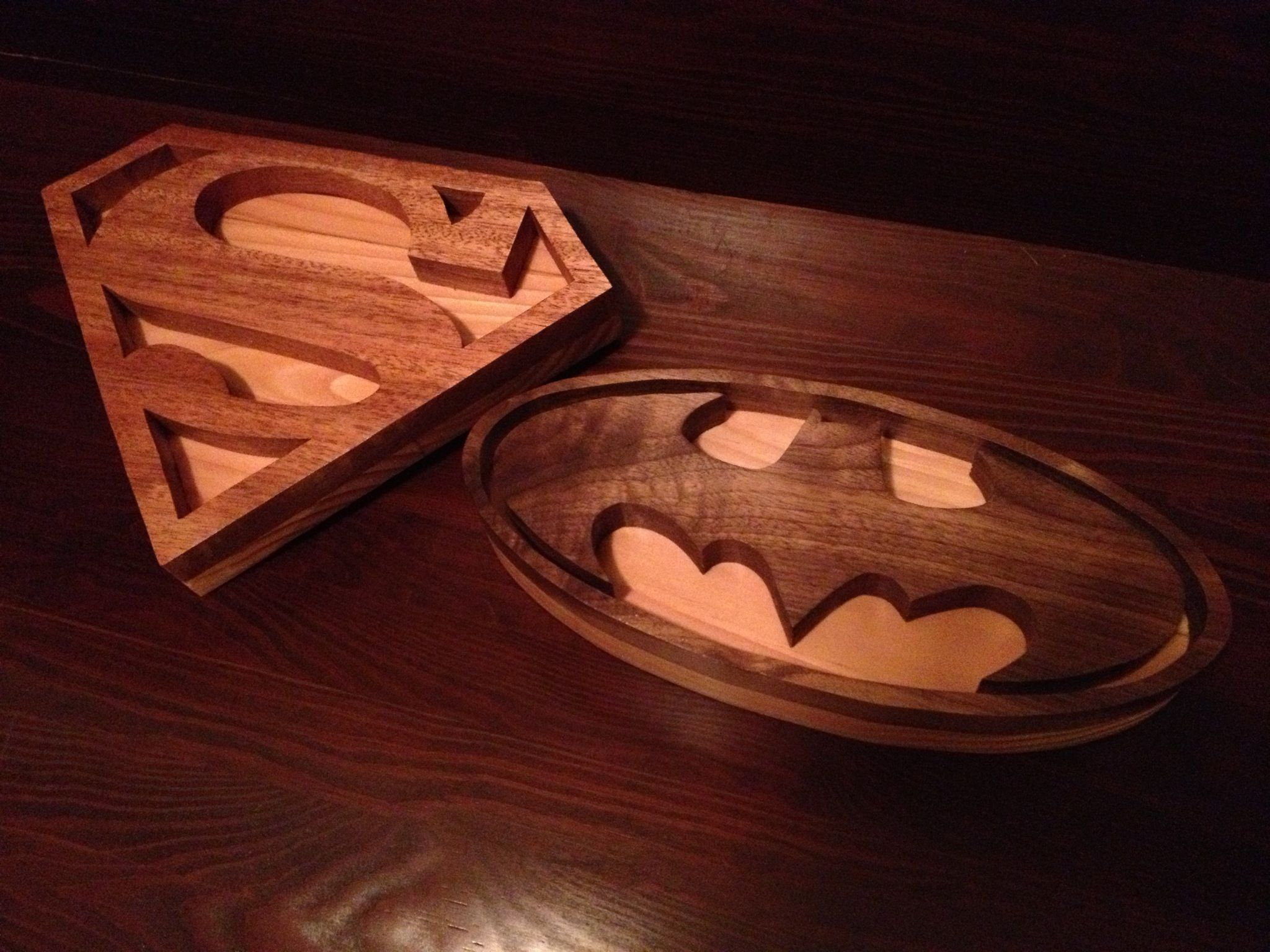 Mahogany & Pine Superman Logo / Walnut & Pine Batman Logo ...
