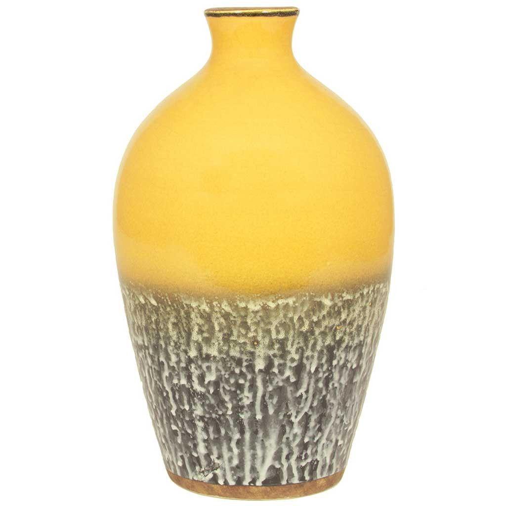 Barcelona Mustard Yellow Ceramic Volcanic Vase Ceramic Vase Yellow Ceramics Vase