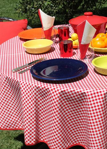 "70"" Round Red Gingham Oilcloth Tablecloth ~ oilclothalley.com"