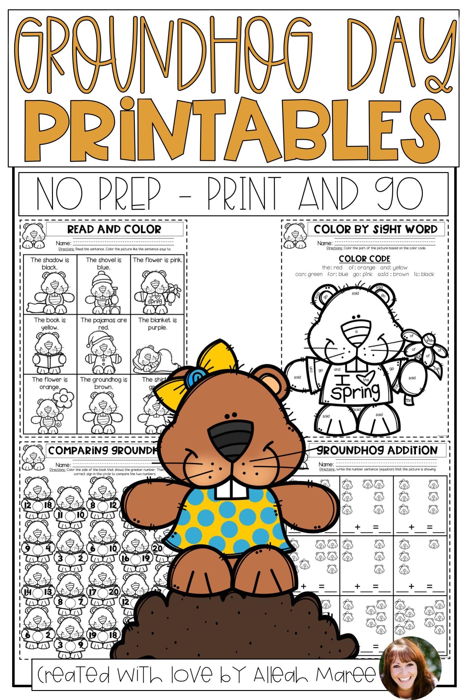 Groundhog Day No Prep Worksheets And Printables Kindergarten Math Activities Winter Classroom Activities Groundhog Day [ 2249 x 1499 Pixel ]