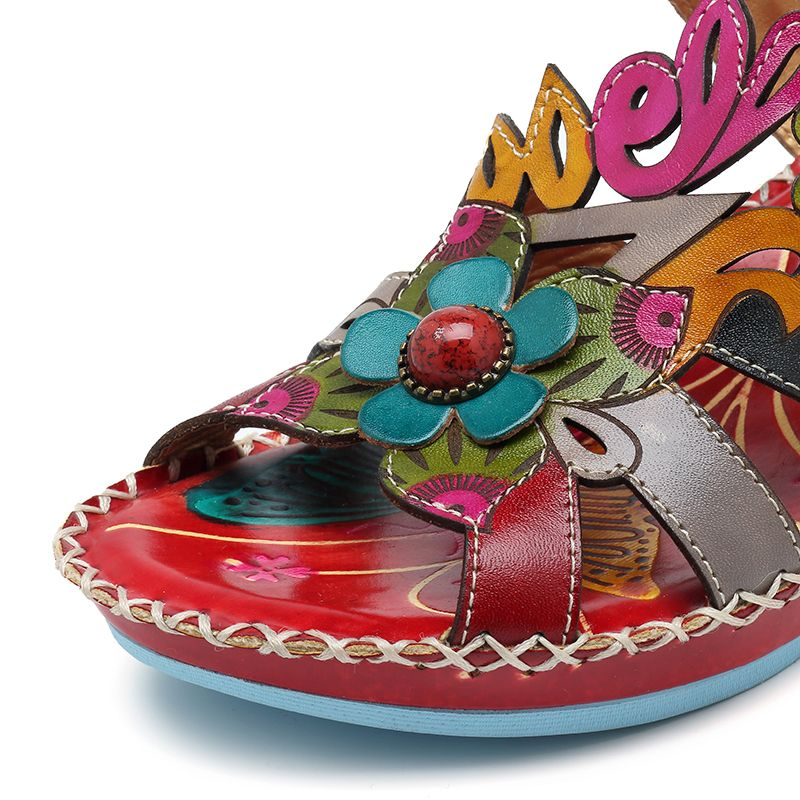 d9ad863007f High-quality SOCOFY Bohemian Handmade Leather Adjustable Hook Loop Printing  Forest Sandals - NewChic Mobile