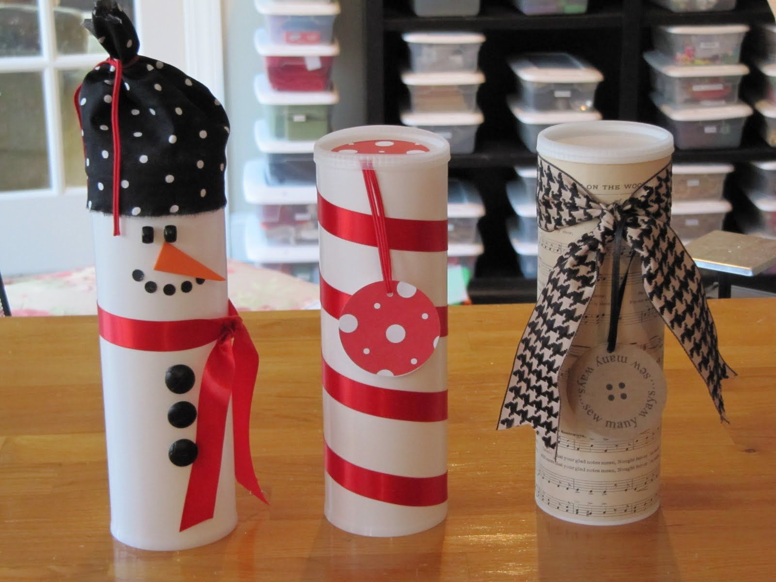 Recycled drink (crystal light) containers. Makes a creative wrap for christmas cookies or small gifts. Perfect for a hostess gift!