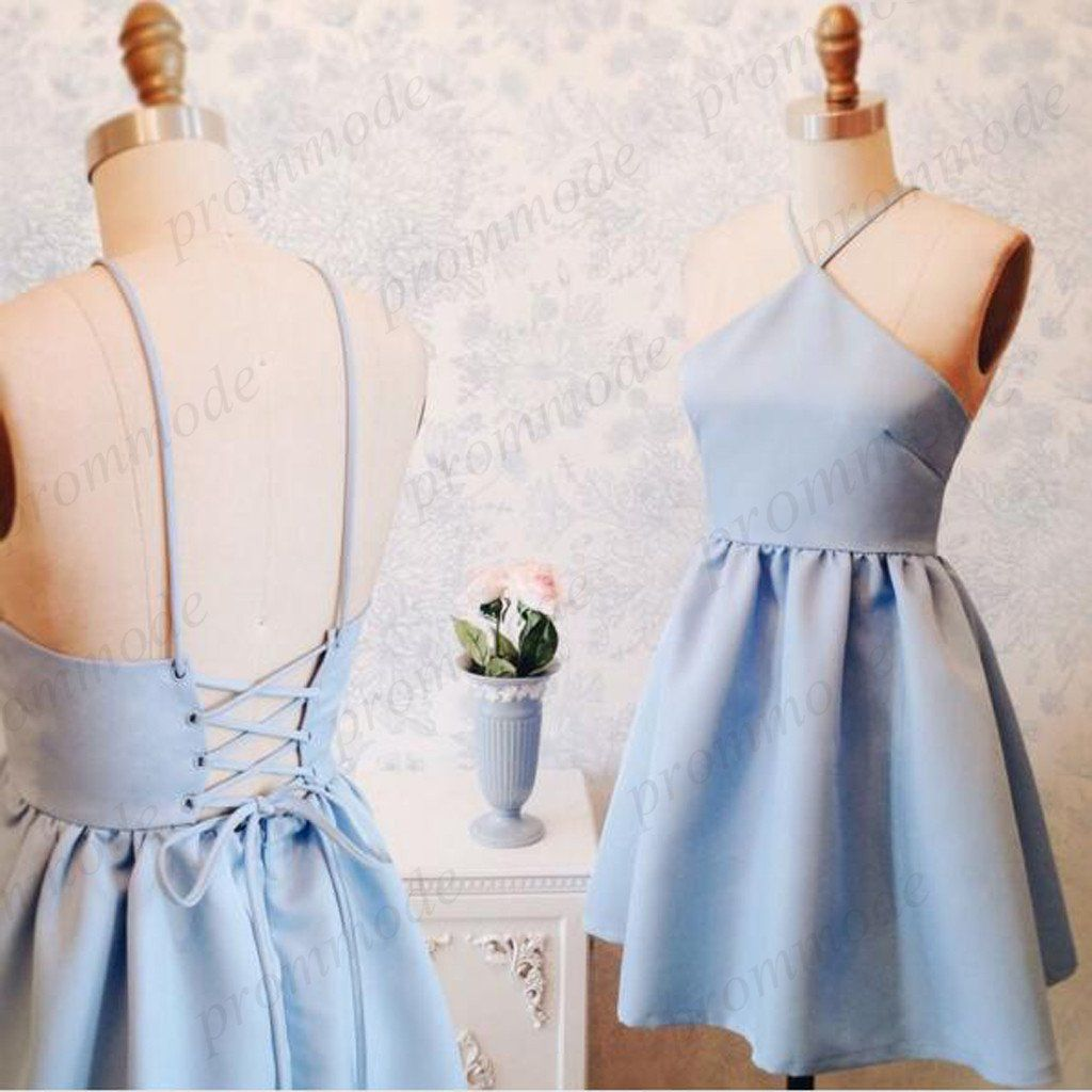 Simple spaghetti straps blue sleeveless homecoming dresses short