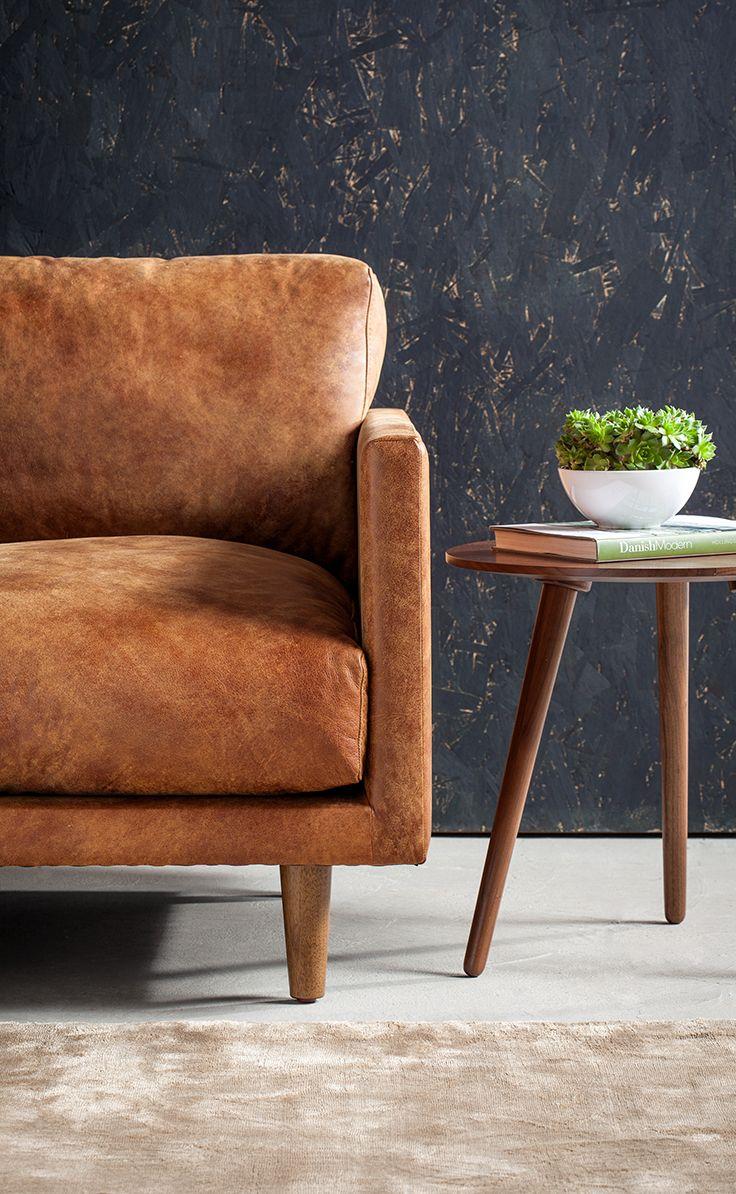 Elegant Tan Brown Leather Sofa   Upholstered   Article Nirvana Modern Furniture
