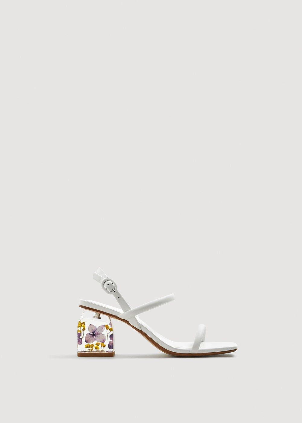 5d24f72e5d6 Flowered heel leather sandals - Woman