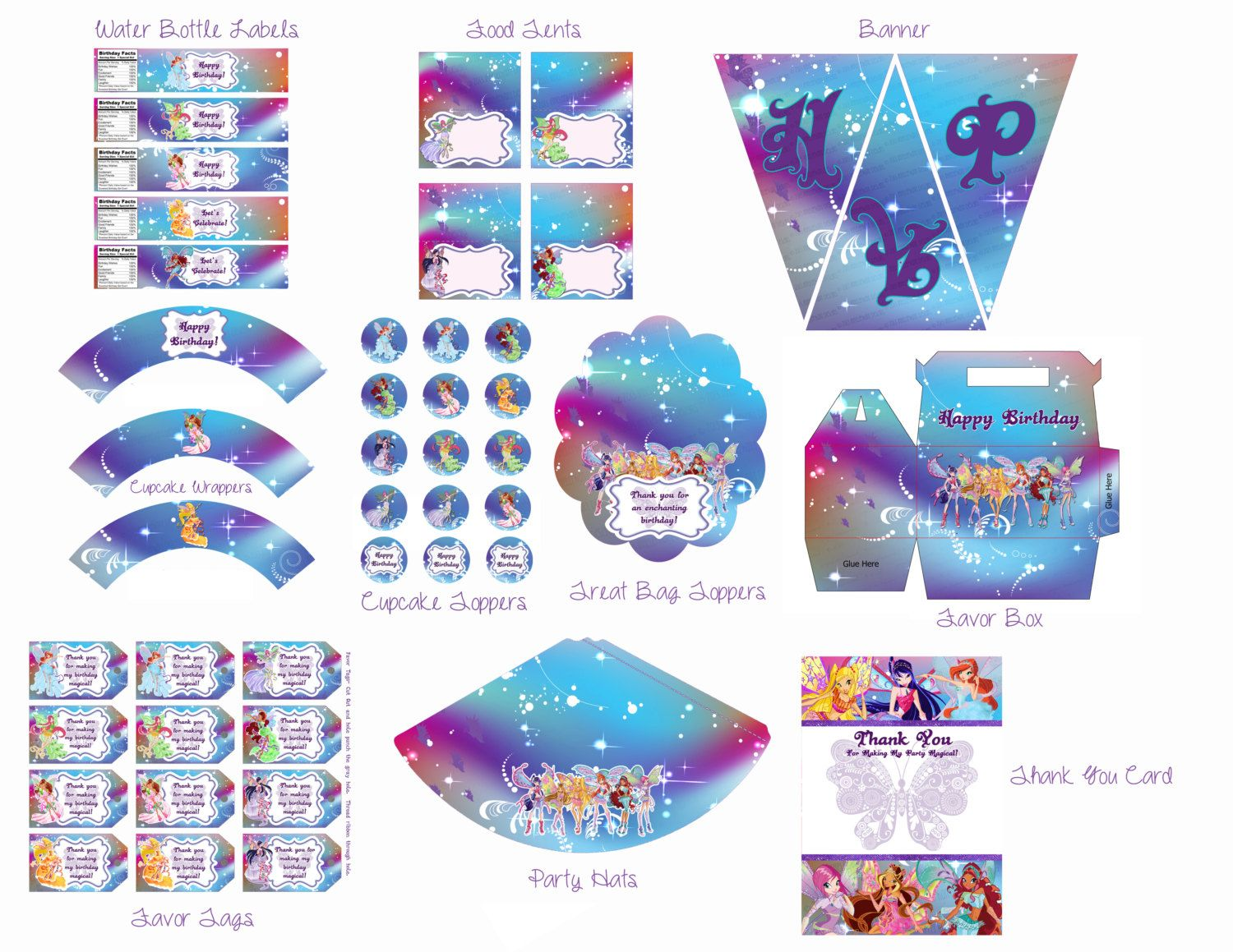 Winx Club Party Pack Winx Club Birthday por IrrelephantDesigns