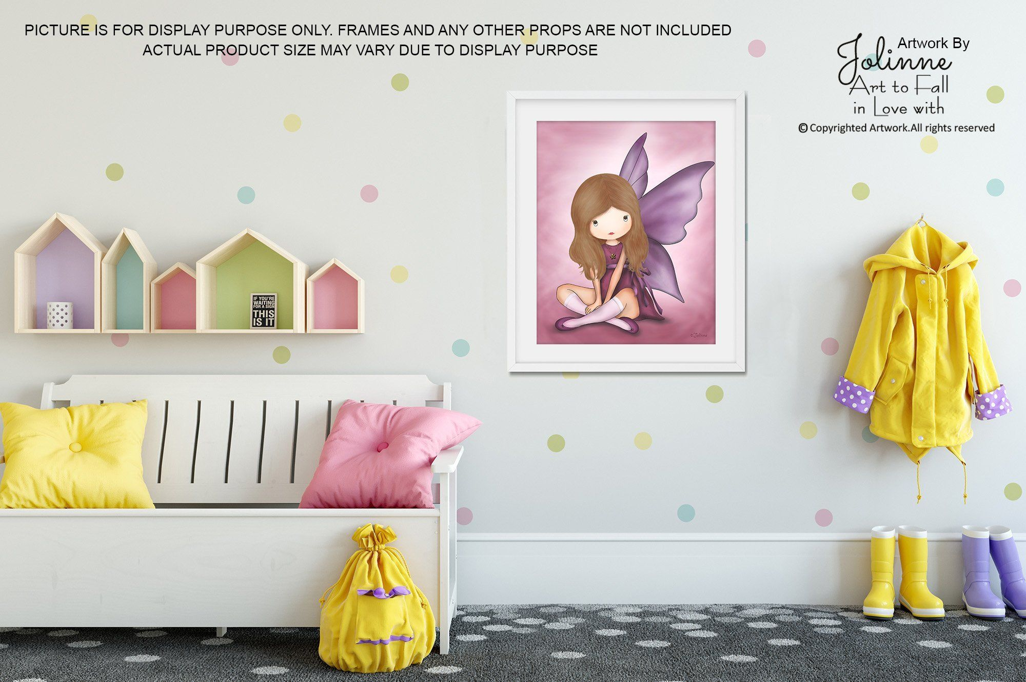 Girls angel room decor wall art kids bedroom pink fairy poster baby
