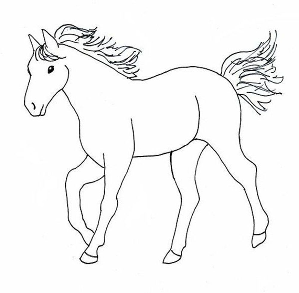 Free Coloring Pages Of Horses Easy Animal Drawings Horse