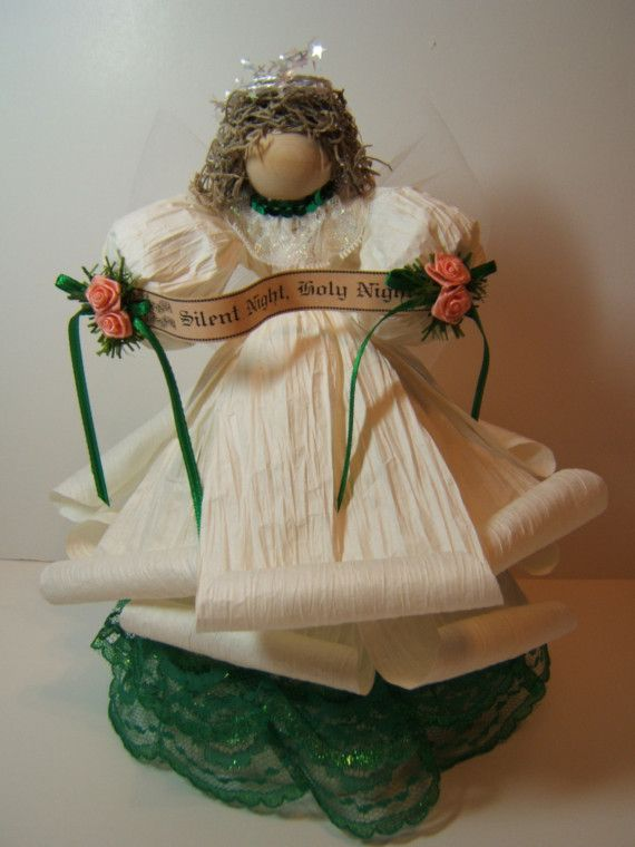 White Paper Twist Angel With Green Lace Abbys Stuff Pinterest