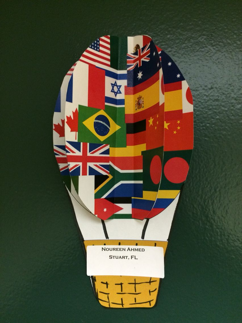 Hot air balloon door tags for all around the world theme