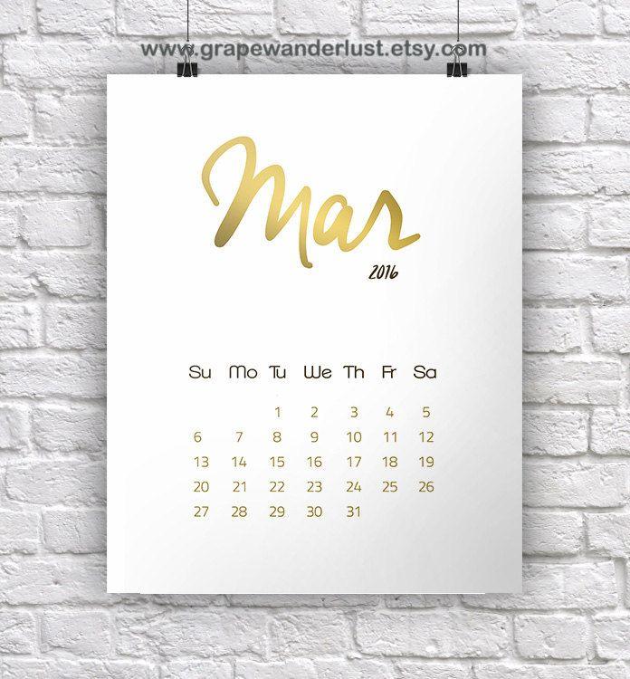 2016 wall calendar printable gold calendar desk calendar 2016