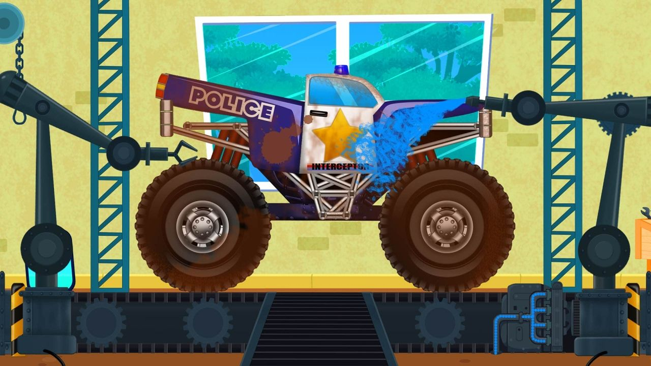 Police Monster Truck | Car Wash | Cars Cartoon | Game for Kids & Children