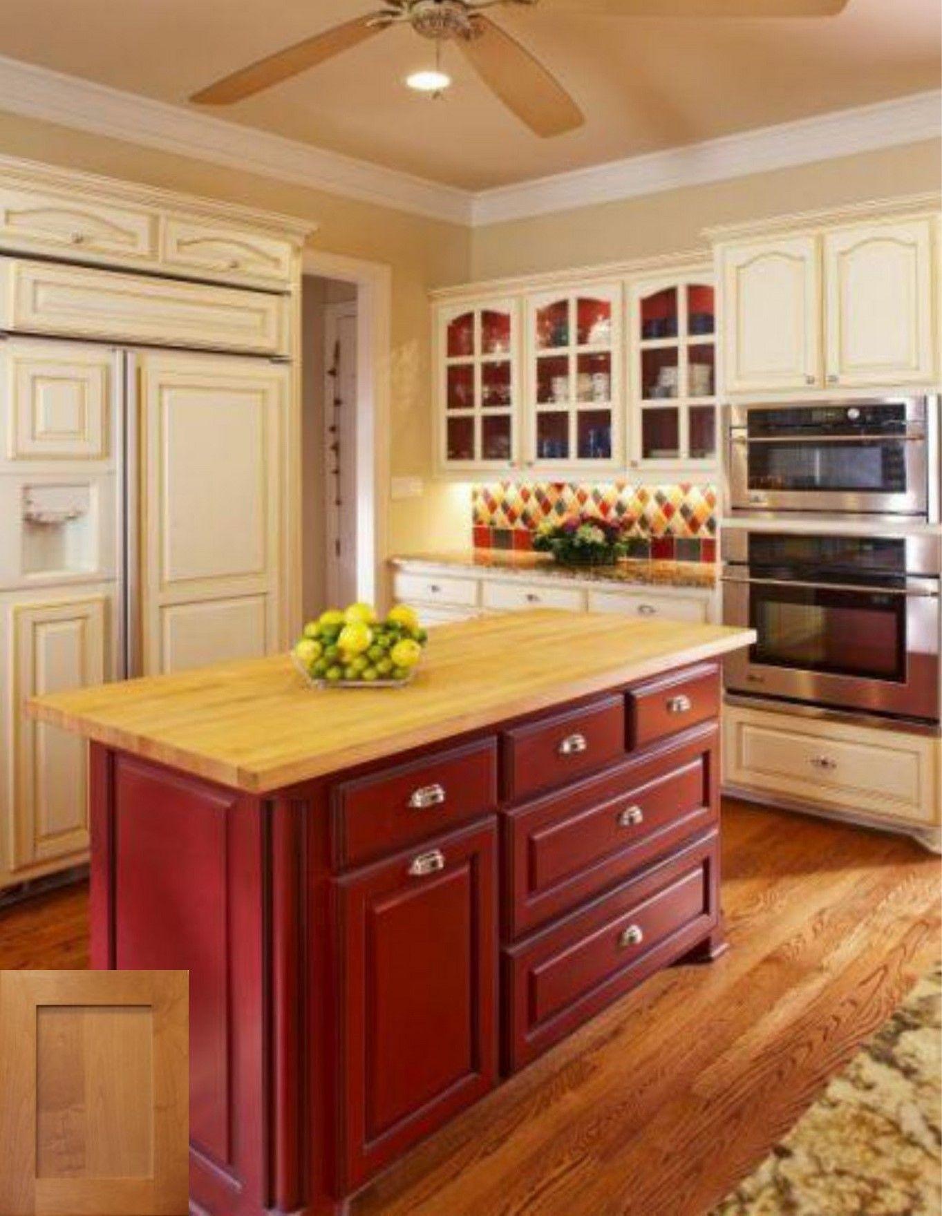 Pin By Melissa Rist On Farmhouse Red Kitchen Cabinets Barn Red Kitchen Kitchen Backsplash Designs