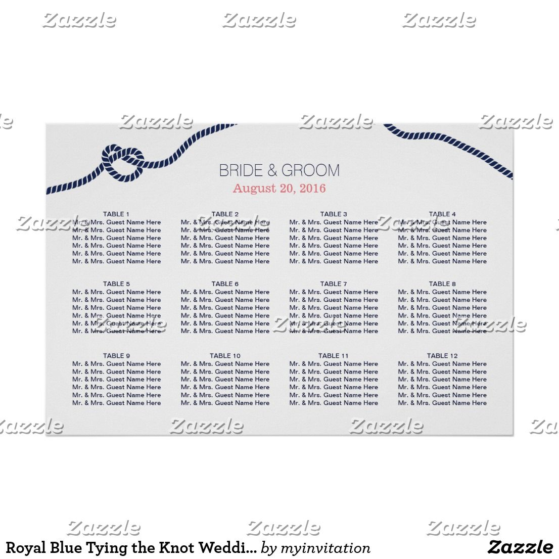 Royal Blue Tying The Knot Wedding Seating Chart
