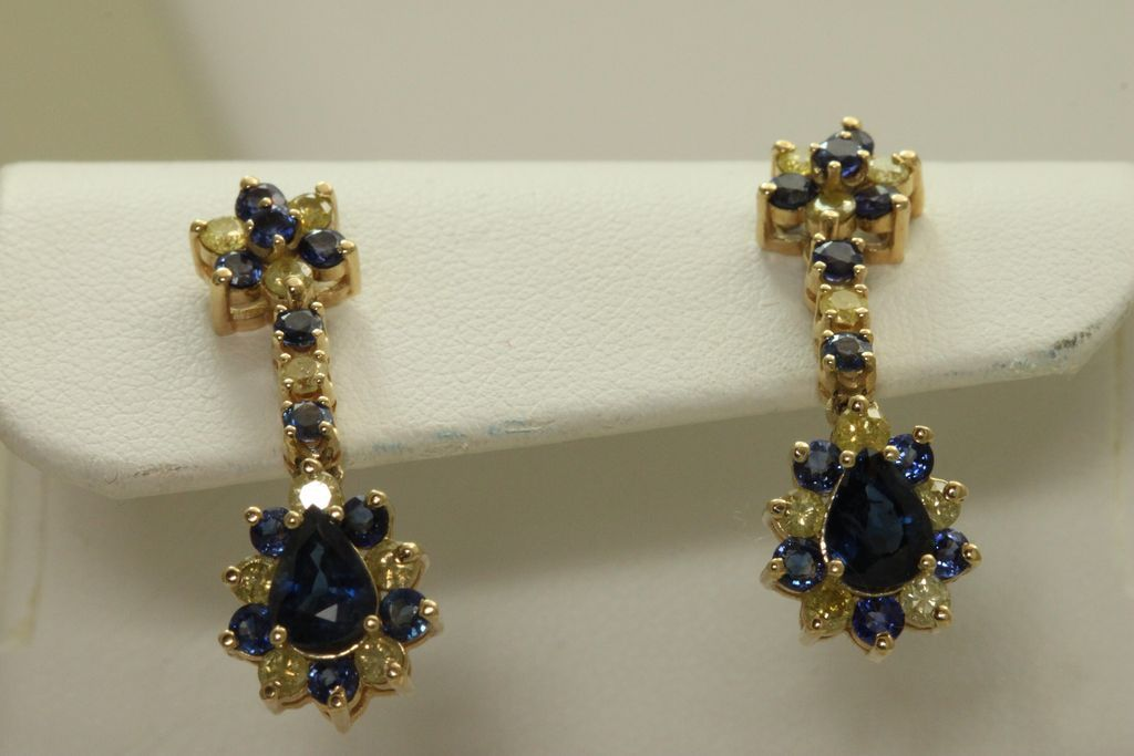 Estate 14K Blue Sapphire and Yellow Diamond Drop Earrings