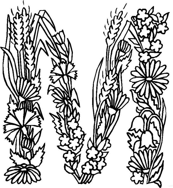 Coloring Pages For The Alphabet Printable : Alphabet flower m coloring pages free printable