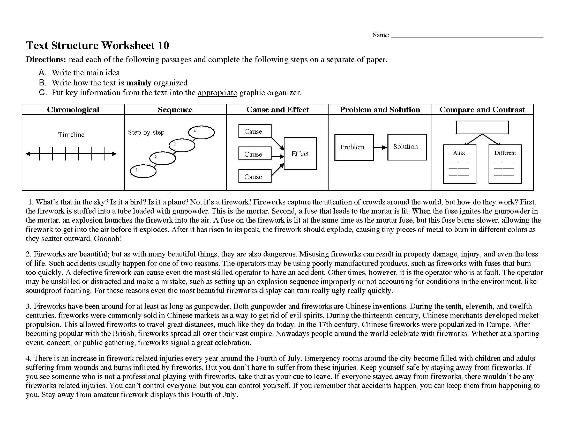 Nonfiction Text Structures Worksheet A Nonfiction Text