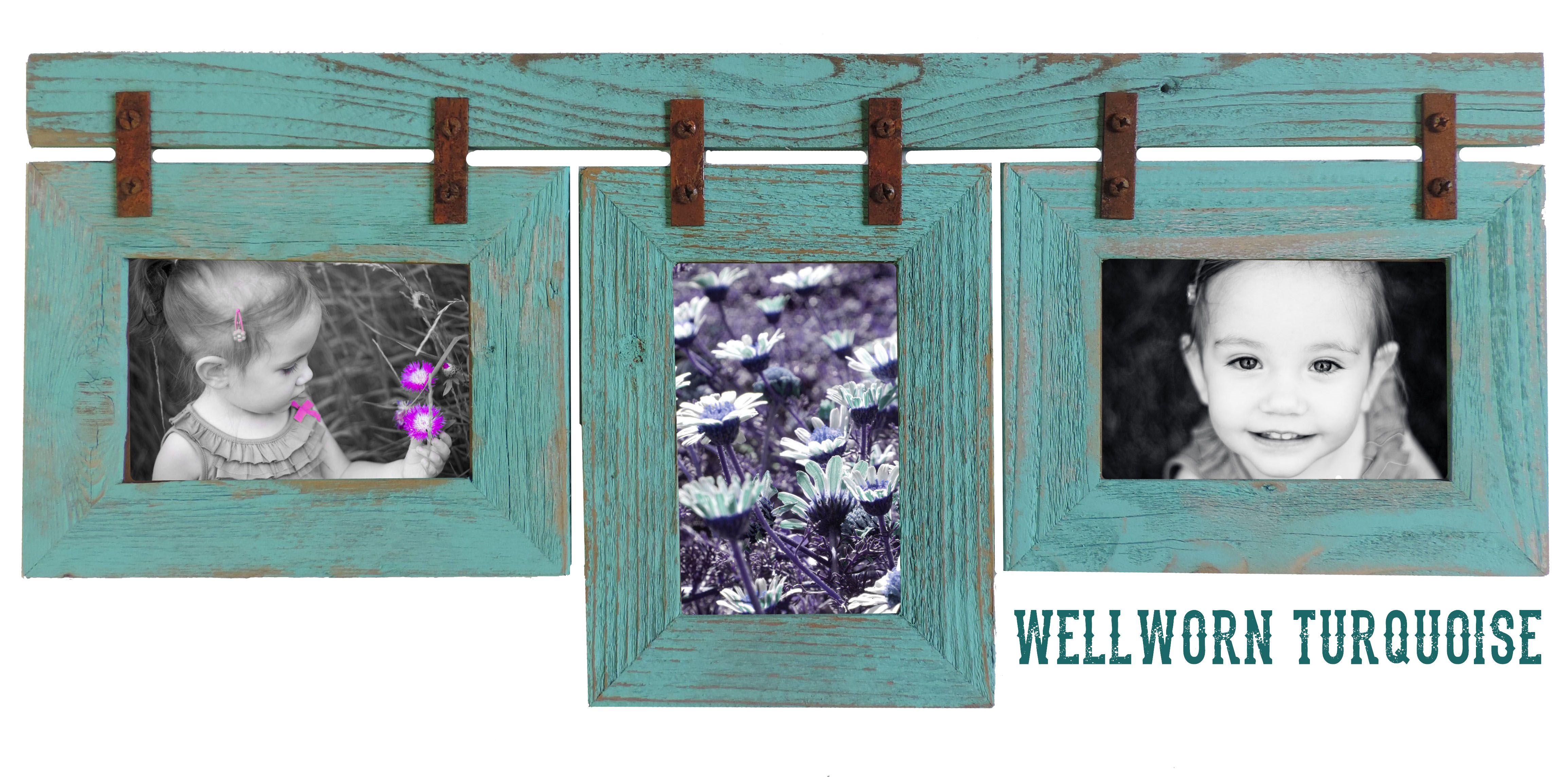 Painted turquoise barnwood photo collage! | Frames, Frames, Frames ...