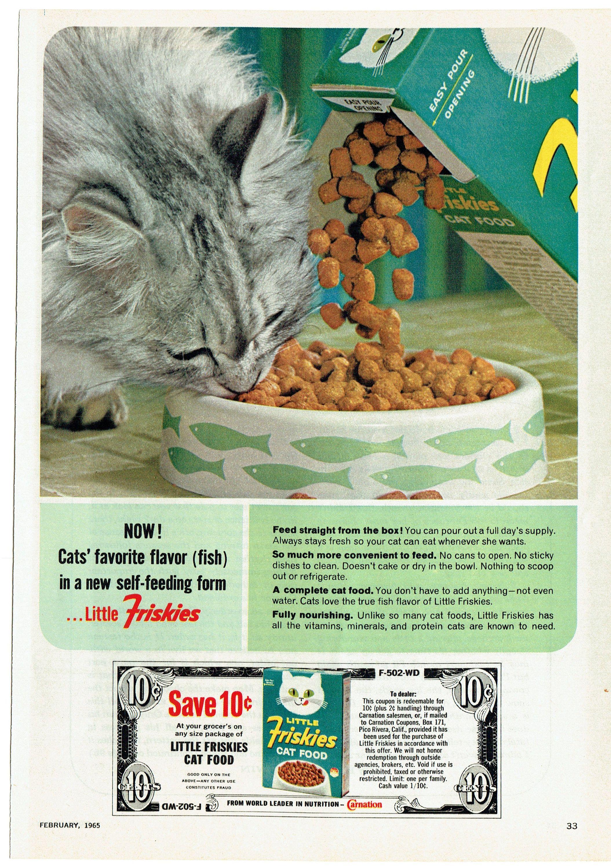 1965 Advertisement Little Friskies Cat Food Vintage 10 Cent Coupon