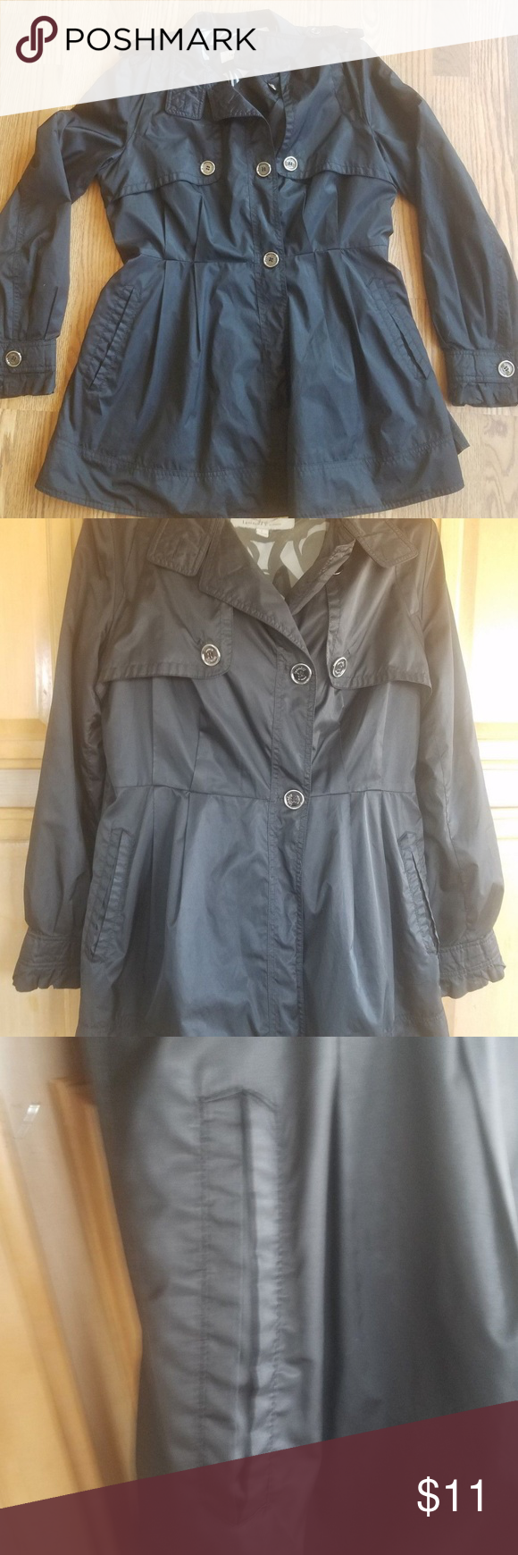 Laundry By Designs Womens Large Black Trench Coat Laundry By Design Womens Large Trench Rain Coat Style Only Flaw Is Button Missing Women Coat Fashion