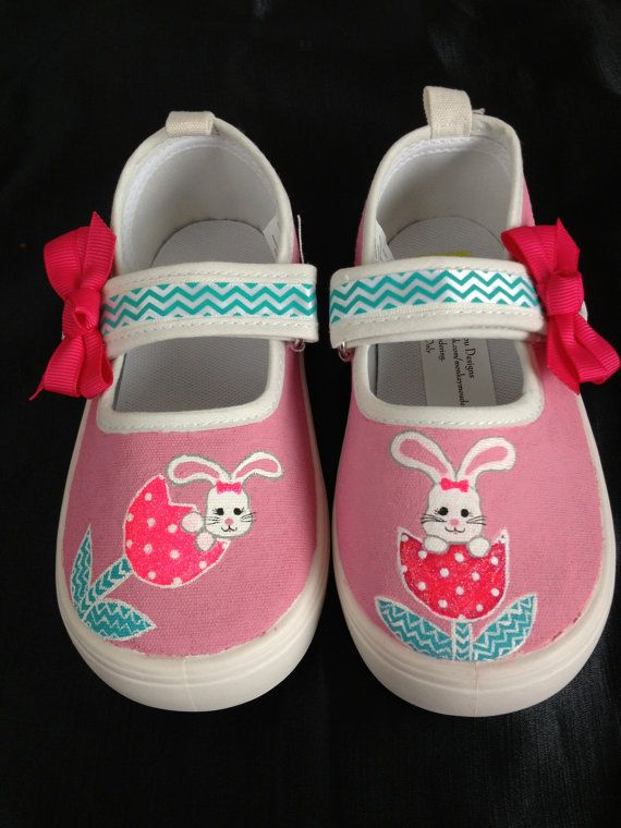 7908dd456bfb8 Bunny Shoes for Easter or Spring hand painted | Easter | Shoes ...
