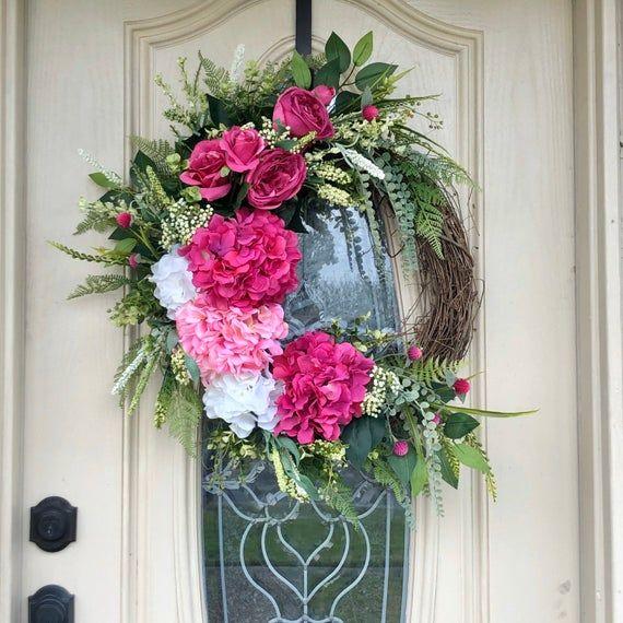 Photo of Spring Pink Hydrangea wreath, all season grapevine wreath, spring or summer wreath, everyday wreath,