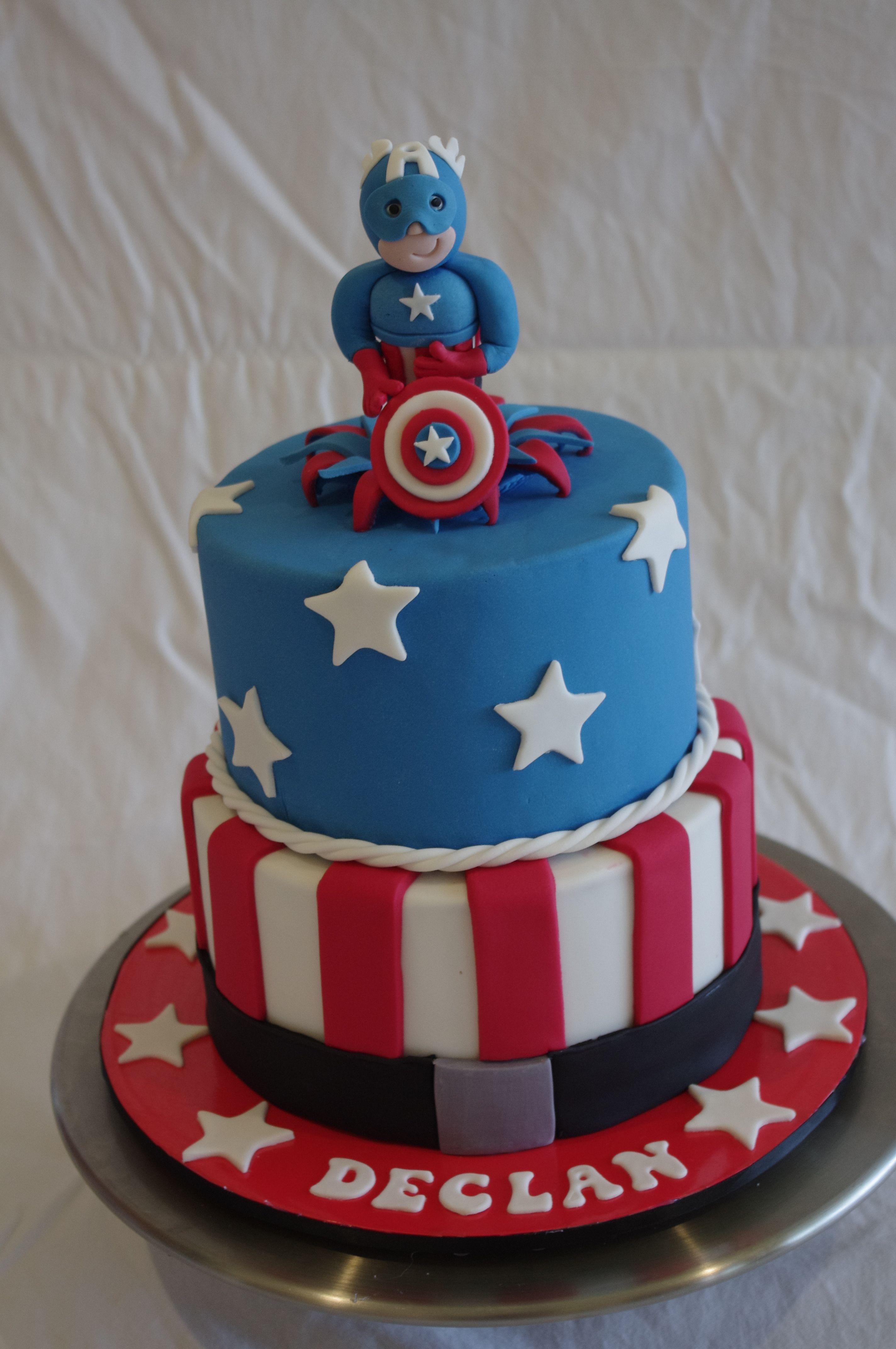 Captain america birthday cake birthday cakes for boys