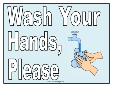 photograph about Wash Hands Sign Printable identified as Clean Your Fingers Signal Printable Indication, no cost towards obtain and