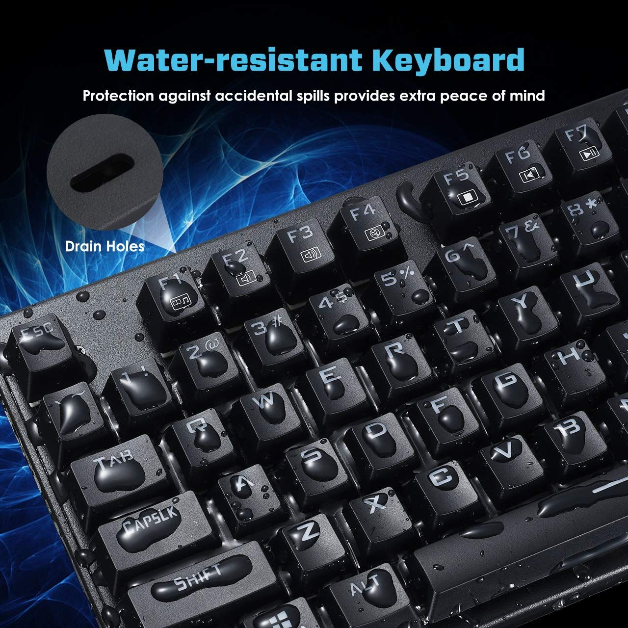VicTsing Mechanical Gaming Keyboard 87 Keys Keyboard for Desktop Computer Attached Key Puller-Black Wired Gaming keyboard with Blue Switch